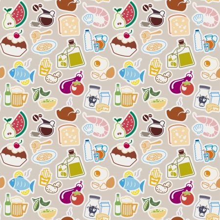 Food seamless pattern Vector
