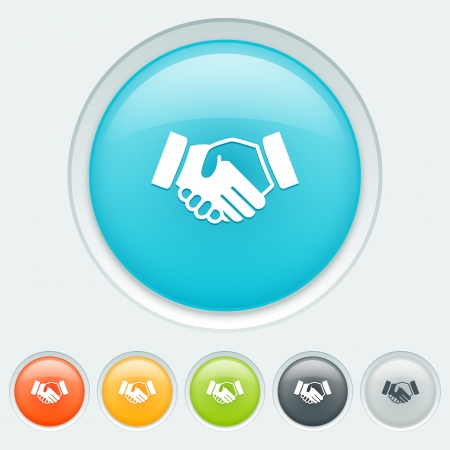 Handshake button in six colors  blue, orange, yellow, green, black and white
