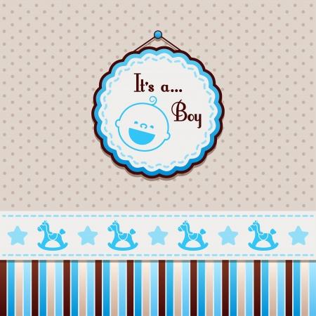vintage baby: It is a boy Blue background Illustration