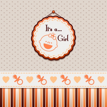 congratulations cards spice: It is a girl Orange background Illustration