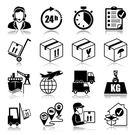 servicio al cliente: Conjunto de iconos con reflexi�n Log�stica Vectores