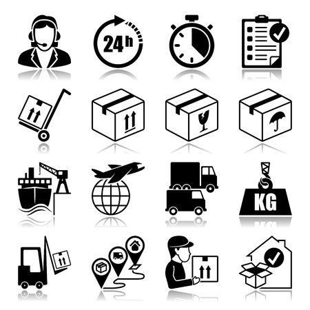 ship parcel: Icons set with reflection  Logistics
