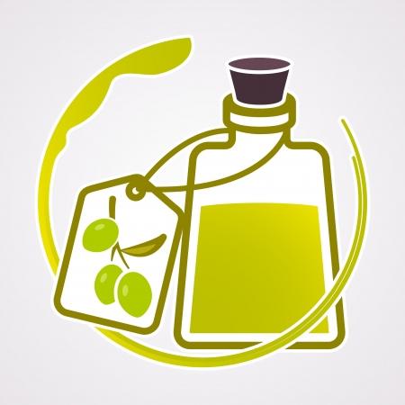 bottle label: Olive oil background  Mediterranean food