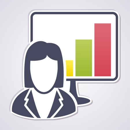 Business woman showing business growth Vector