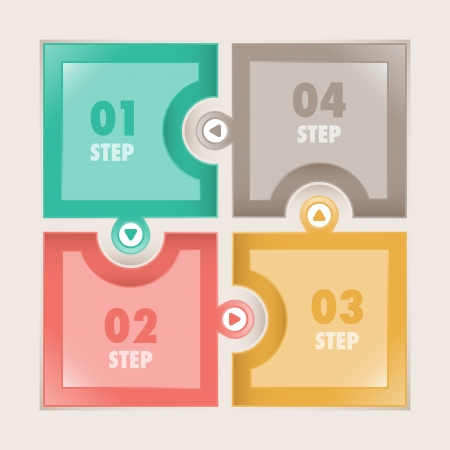 Infographics four steps banner Vector