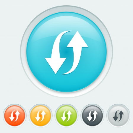 Reload button in six colors: blue, orange, yellow, green, black and white