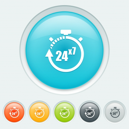 24x7: Service 24 hours for 7 days button in six colors: blue, orange, yellow, green, black and white