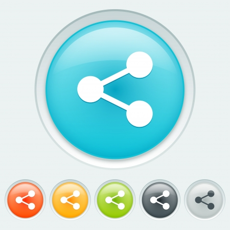 share icon: Share button in six colors: blue, orange, yellow, green, black and white
