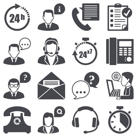 call center agent: Icons set apoyo Vectores