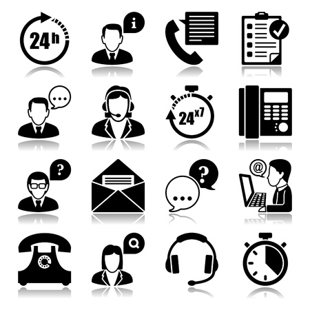 customer service phone: Icons set with reflection  support