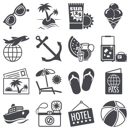 feriado: Iconos de establecen Vacaciones de verano