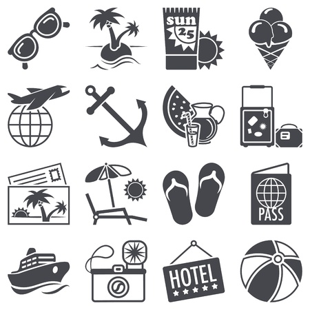 flip flops: Icons set  Summer vacations