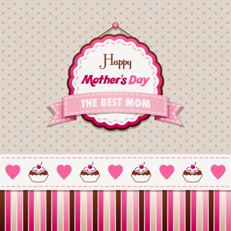 리본: 빈티지 인사말 카드 해피 어머니의 날