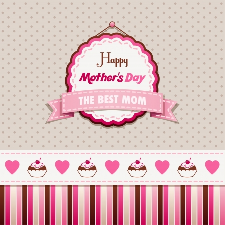 Vintage greeting card Happy Mothers Day Çizim
