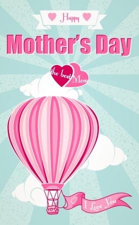 幸せな母の日、熱い空気バルーン グリーティング カード