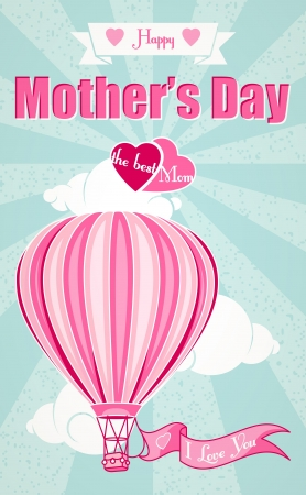 Happy Mothers Day and hot air balloon Greeting Card Vector