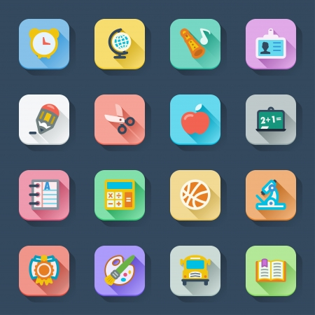 Flat icons in a square with long shadow  School  イラスト・ベクター素材