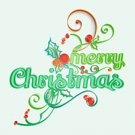 quilling: Greeting card, Merry Christmas  Paper Art style