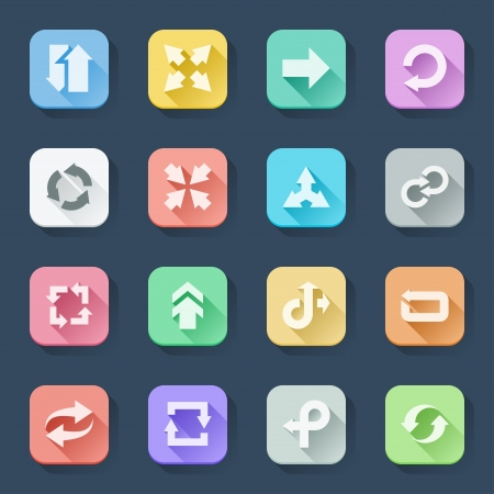 Flat icons in a square with long shadow  Arrows
