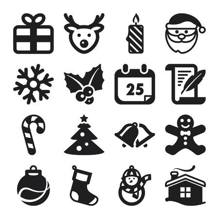 mistletoe: Set of flat icons about Christmas