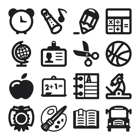 human geography: Set of flat icons about school