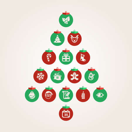 Abstract Christmas tree made of Christmas balls  Vector