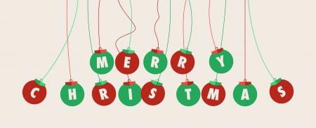 merry christmas text: Tarjeta de felicitaci�n de la Navidad. Bolas de Navidad con el texto de la Feliz Navidad Vectores