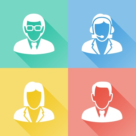 people icon set: Set of colorful flat icons about business people