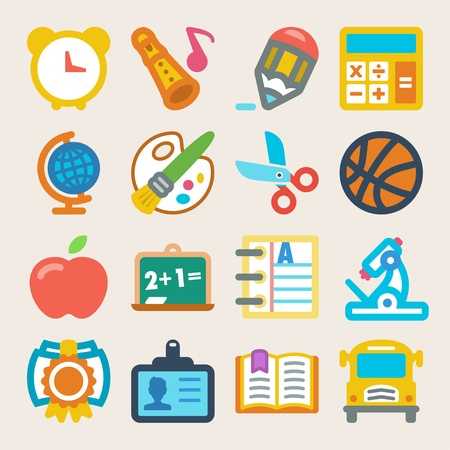 Set of colorful flat icons about school Vector