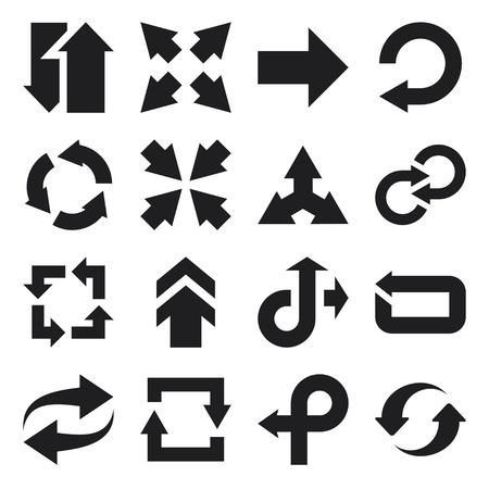 flecha derecha: Conjunto de iconos planos sobre las flechas Vectores