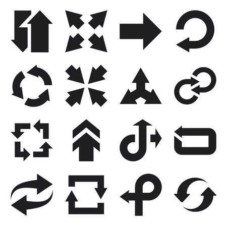 Set di icone piane circa frecce
