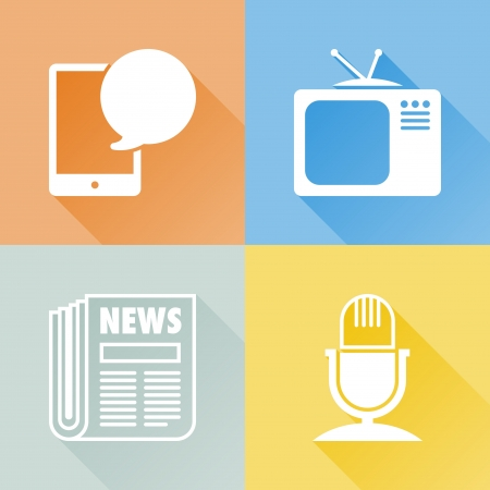 mass media: Set of colorful flat icons about communication