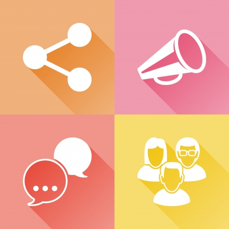 share icon: Set of colorful flat icons about social media Illustration