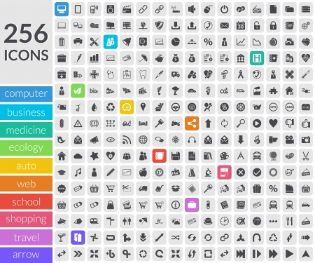 Icons set about Business, Auto, Web, Ecology, Shopping, Travel, Computer, Medicine and School  Icons inside rounded squares
