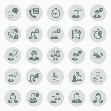 平らな円の中のアイコンのオフィスで働いているビジネス人々 についてのアイコンを設定します。