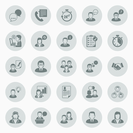 conference call: Icons set about business people working in office  Icons flat inside circles  Illustration