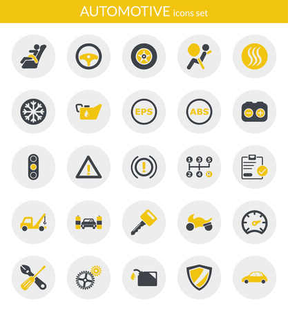 Icons set about automotive  Flat icons inside circles
