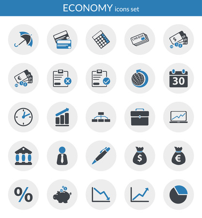 Icons set about economy  Flat icons inside circles