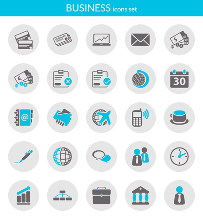 Icons set about business  Flat icons inside circles  일러스트