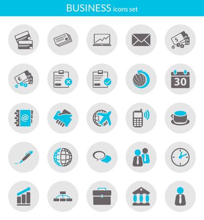 Iconos de serie sobre los iconos planos de negocio dentro de los círculos Ilustración de vector
