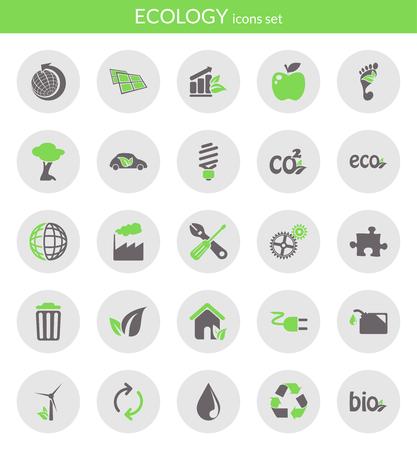 Icons set about ecology  Flat icons inside circles  Ilustração