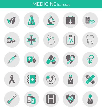フラット アイコン円中医学についてのアイコンを設定します。  イラスト・ベクター素材