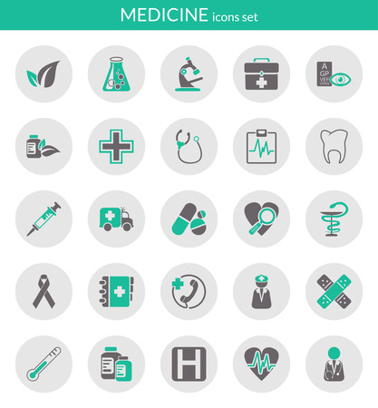 Icons set about medicine  Flat icons inside circles  Çizim