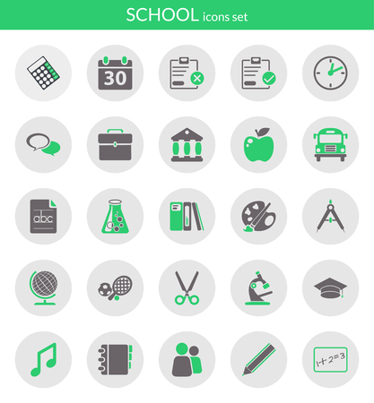 Icons set about school  Flat icons inside circles  Vector