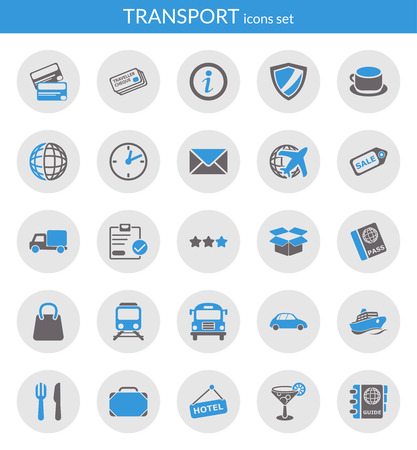 Icons set about transport  Flat icons inside circles  Ilustração