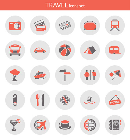 Icons set about travel  Flat icons inside circles  Vector