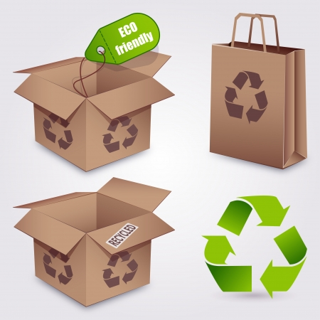 Recycled paper set  Icons about ecology concept