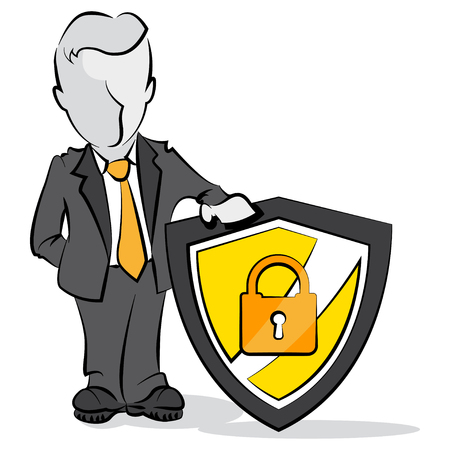 antivirus: Cartoon of businessman and shield  Protection concept
