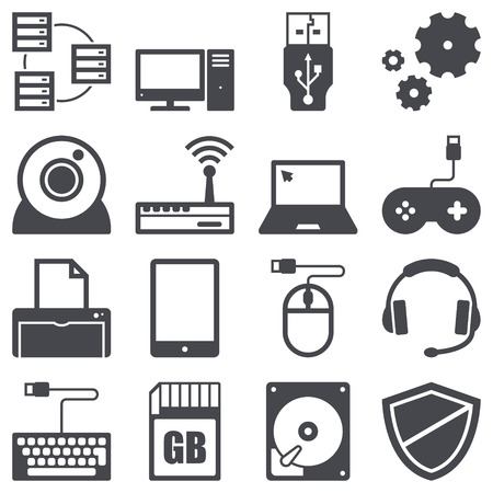 Icons set about computer and technology concept Ilustracja