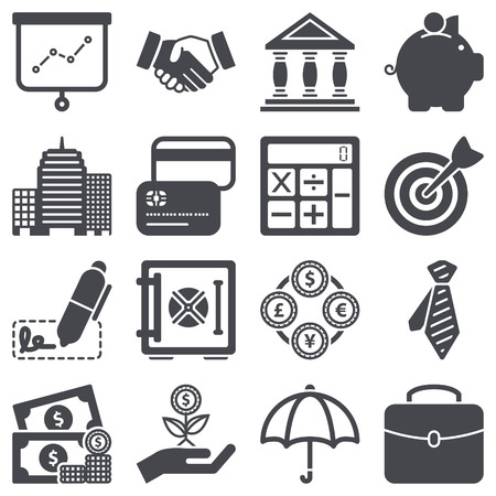 Icons set over finance concept